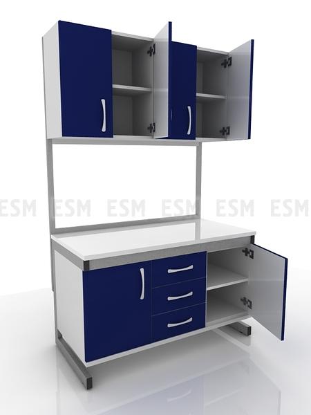 Стол лабораторный с дверцами и подвесными полками 203-002-1, 203-002-4