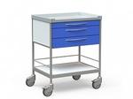 Столик медицинский процедурный с 2 полками и 3 выдвижными ящиками, на колесах, БТ-СТН3-338