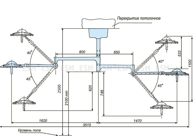 Светильник операционный потолочный ЭМАЛЕД 300/300