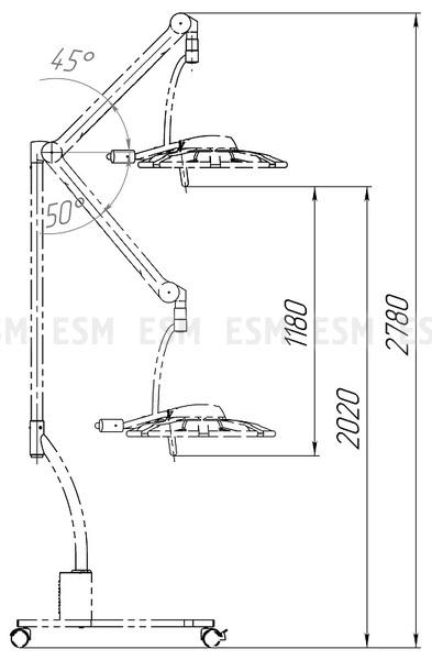 Светильник операционный передвижной ЭМАЛЕД 500П с аварийным питанием