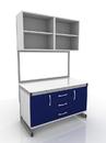 Стол лабораторный с дверцами и подвесными полками 203-002-3, 203-002-6