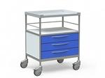 Столик медицинский процедурный с 2 полками и 3 выдвижными ящиками, на колесах, БТ-СТН3-341