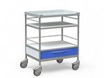 Столик медицинский процедурный с 3 полками и 1 выдвижным ящиком, на колесах, БТ-СТН1-344